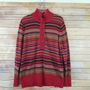 Eddie Bauer 1/2 Button Striped Sweater